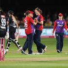 England players celebrate the wicket of New Zealand's Hannah Rowe. Photo Action Images via Reuters