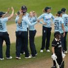 England players celebrate the dismissal of New Zealand's Brooke Halliday. Photo: Action Images...