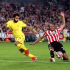 Liverpool's Mohamed Salah in action with Brentford's Mathias Jorgensen. Photo: Action Images via...