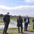 From left: West Coast Whitebaiters Association president Rob Roney, Conservation Minister Kiri...