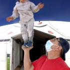 Circus owner Harry Weber and son Diesel (2) practise for the show. Photo: Ashburton Courier