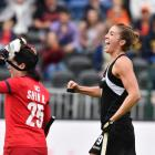 Brooke Neal of New Zealand celebrates after scoring the winning goal during the Hockey World...