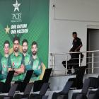 Pakistani security personnel in the Pindi Stadium after the cancellation of the Black Caps tour....