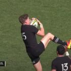 Jordie Barrett kicks Marika Koroibete in the face while contesting a high ball in Perth. Image:...