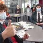 Masked up and ready for school at the front of the class are Kaikorai Valley College Braithwaite...