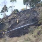 Crews fight the blaze near Oamaru. Photo: Kayla Hodge