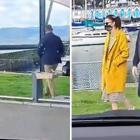 Two women eating burgers wanted to know why there were security uncles walking near the...