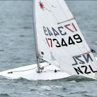 Boats race in the Vauxhall Yacht Club's Laser 50th anniversary regatta on Otago Harbour on...