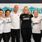 Stephanie Te Ohaere-Fox, Te Rauoriwa Gapper, head coach Blair Baxter, Phillipa Love, Kendra...
