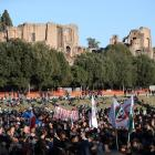 People gather in Rome to protest against the Green Pass becoming mandatory in the Italian...