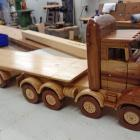 Colin Smith's impressive 28-wheeler made of six different types of wood. Photo: Ashburton Courier
