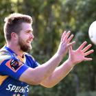 Otago loose forward Charles Elton catches a ball at training at Logan Park this week. PHOTO:...