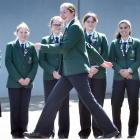 Showing off the new trousers available for Columba College pupils to wear is Poppy Edmond (14) in...
