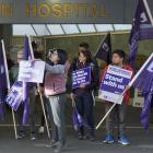 Striking nurses outside Dunedin Hospital in June this year. The NZNO called off strike action in...