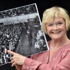 Gladys Hope points to her 13-year-old self at The Beatles  concert in the Dunedin Town Hall in...