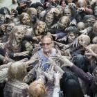 Make-up and effects guru Greg Nicotero relaxes with some close friends on the set of The Walking...