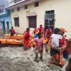 People have been evacuated to safer places from a flooded area in Udham Singh Nagar in the...