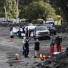 Emergency services at the scene on Sunday. Photo: NZ Herald