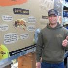 Barna Szocs with his display of working hives at Mitre 10 Mega Wanaka. PHOTOS: JARED MORGAN