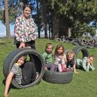 Hawea Flat School principal Tania Pringle with pupils (from left) Max Gollop (10), Lilyana...