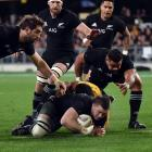 Liam Squire scores a try for the All Blacks during a 2017 Bledisloe Cup match against Australia...