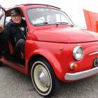 Pete Burtonwood, of Owaka, displays his restored 1964 Fiat Bambina 500D at the Hardpark Takeover...