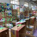 Regent 24 Hour Book Sale co-ordinator Alison Cunningham is surrounded by some of the hundreds of...