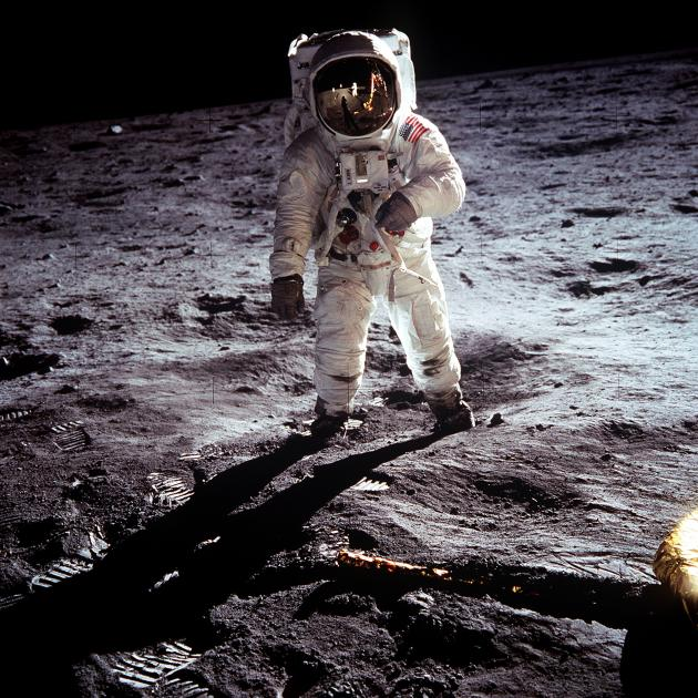 US astronaut Buzz Aldrin standing on the moon on  July 20, 1969. Photo: Neil Armstrong-NASA via...