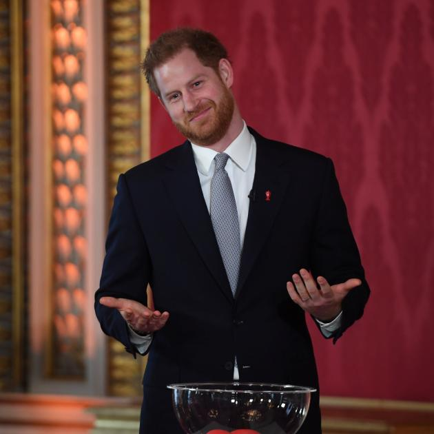 Prince Harry attends at the draw for the Rugby League World Cup on Thursday. Photo: Reuters