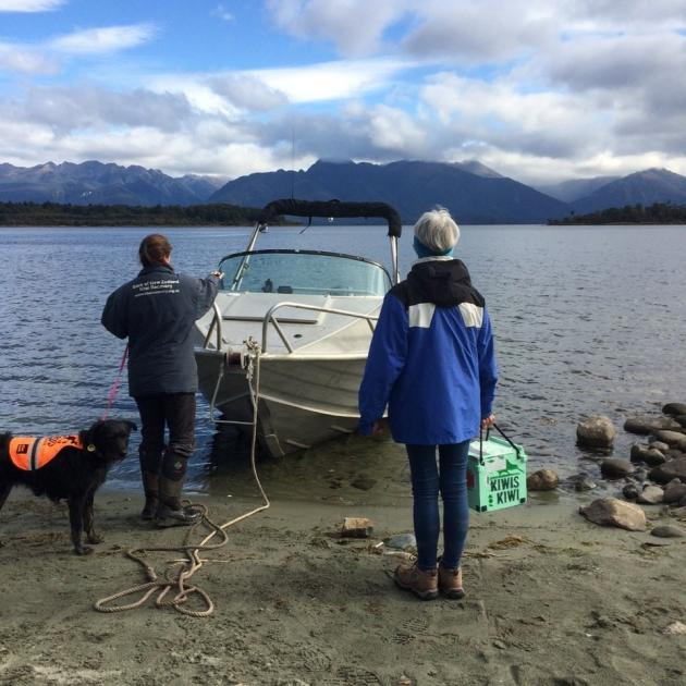 Readying the boat for the trip across Te Anau to Centre Island. PHOTO: BARBARA JOHNSTON
