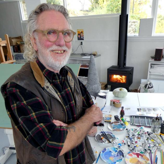 Artist Dick Frizzell at work in Henderson House, Alexandra earlier this year. Photo: Simon Henderson