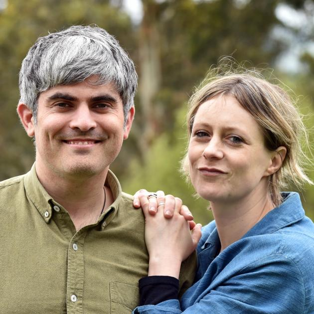 New Dunedin mayor Aaron Hawkins with his wife Anya Sinclair at their Port Chalmers home. Photo:...