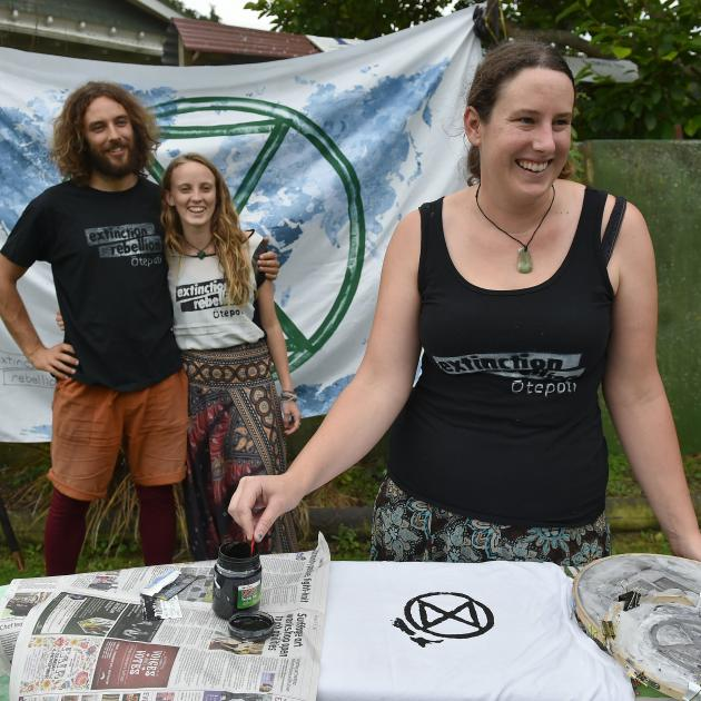 Extinction Rebellion Otepoti members (from left) Jamie Prout (25), Danika Hotham (22) and Rachael...