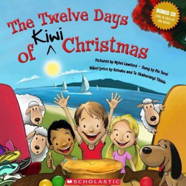 THE TWELVE DAYS OF KIWI CHRISTMAS<br><b>Illustrations Myles Lawford, sung by Pio Terei Maori lyrics Kotuku and Te Okahurangi Tibble</b><br><i>Scholastic</i>