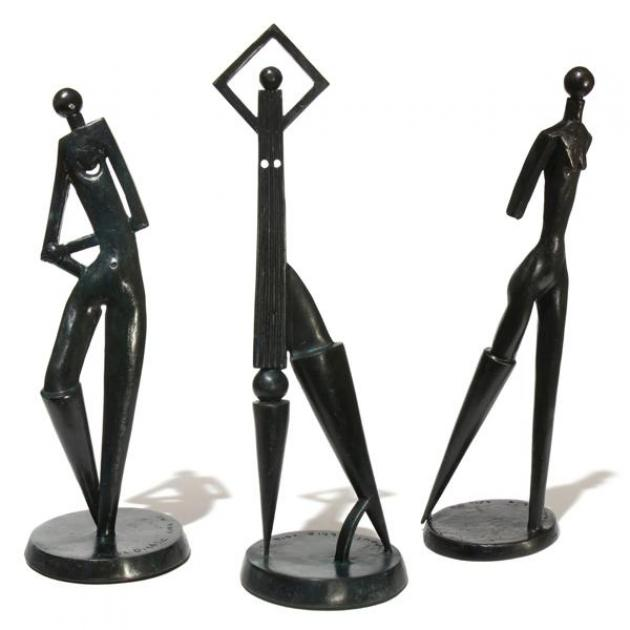 "Paul Dibble sculptures (from left) ""Figure of Ease"" (2014), ""Putting Your Best Foot Forward"" (2015) and ""Into a Southerly"" (2015)"