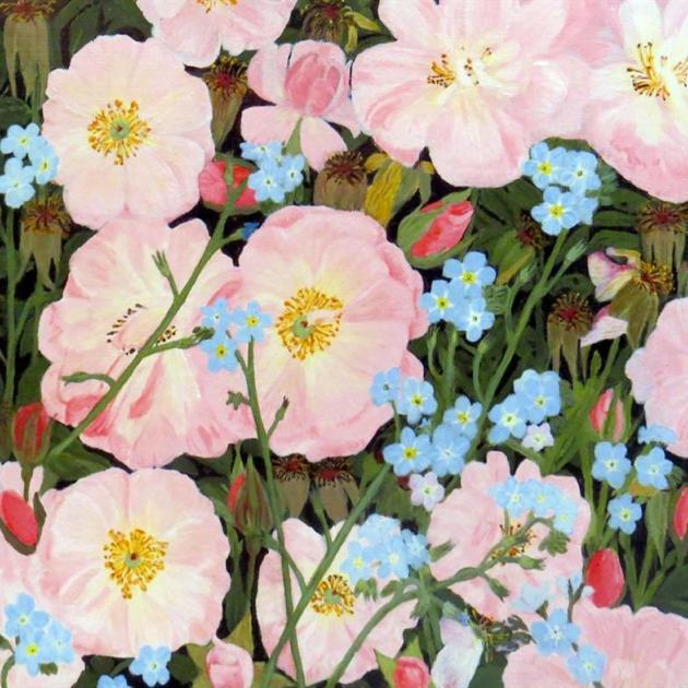 """Study of pink ground cover rose"", by Joe L'Estrange"