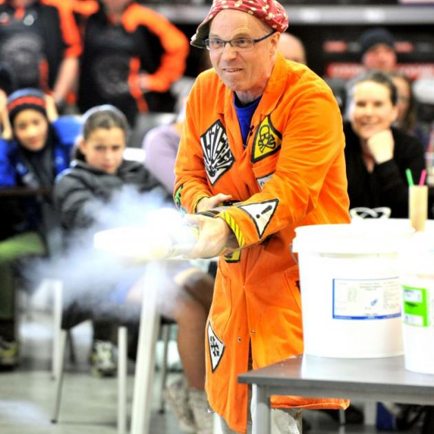 Scientist Tom Pringle, aka Dr Bunhead, on his way to breaking the Guinness World Record for firing potatoes out of a bazooka, in South Dunedin last night. Photo by Linda Robertson