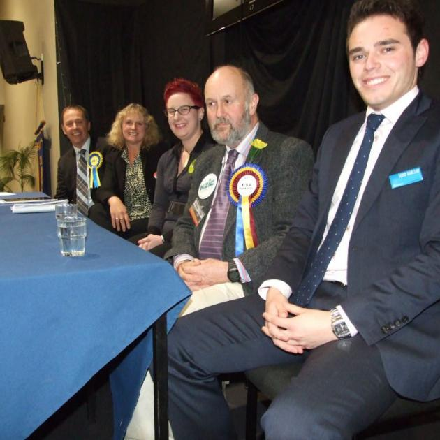 Clutha-Southland candidates at last night's election meeting in Balclutha. From left,  Don Nicolson (Act NZ),  Dr Liz Craig (Labour), Rachael Goldsmith (Greens),  Karl Barkley (Independent Party), and Todd Barclay  (National).  Photo by Hamish MacLean
