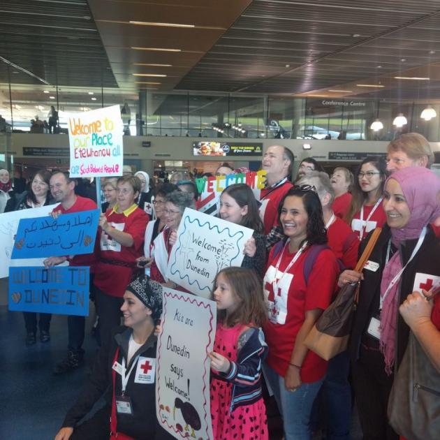 Refugees got a warm welcome from Red Cross volunteers at Dunedin Airport. Photo: Vaughan Elder