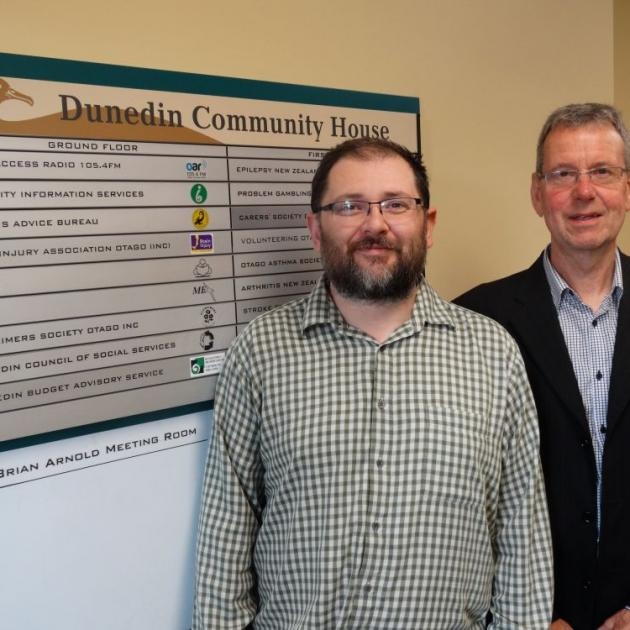 Dunedin Council of Social Services executive officer Alan Shanks (left) and Community Support consultant Rob Tigeir are striving to help social sector groups brace for the impact of long-signalled changes to funding for organisations. PHOTO: BRENDA HARWOO
