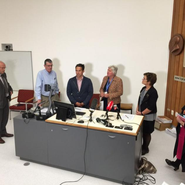 A press conference was held at Dunedin Hospital this afternoon. Photo by Gregor Richardson