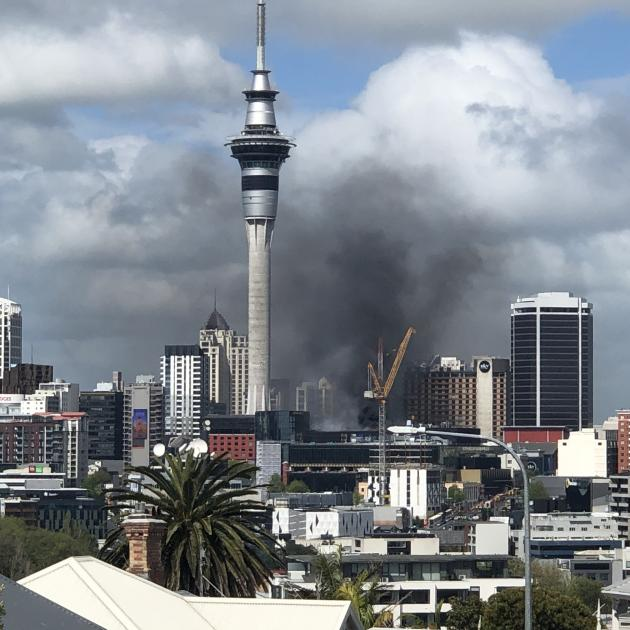 The Sky City fire seen from the suburb of Ponsonby this afternoon. Photo:  Serena Benson