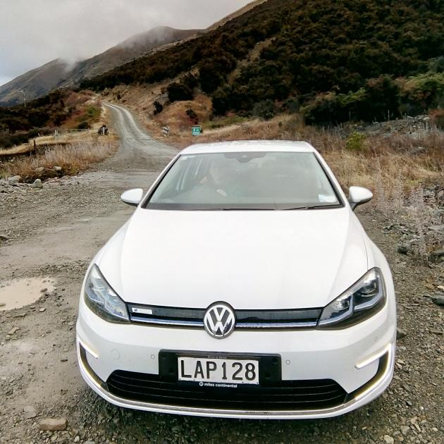 The e-Golf at the bottom of the Ohau Snow Fields access road, newly recharged from the descent....