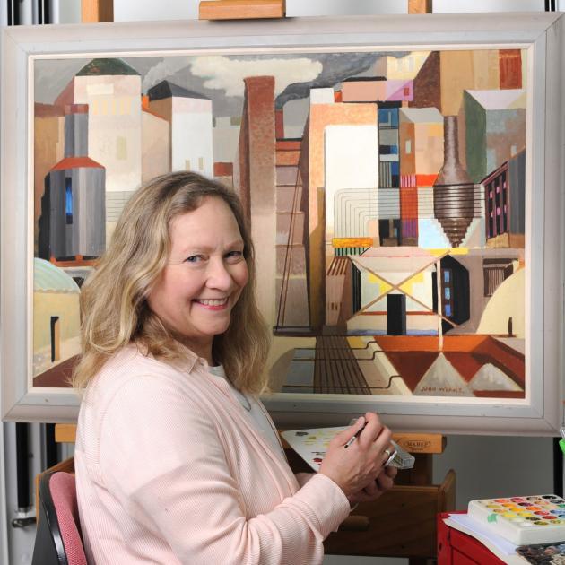 Dunedin Public Art Gallery conservator Jenny Sherman at work. Photo: Christine O'Connor