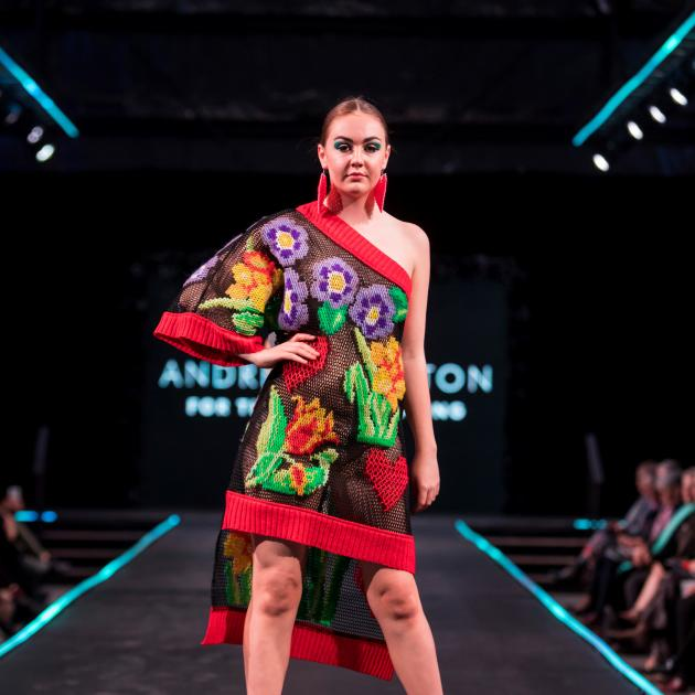 Sophie Mathias, of Alexandra, models Gore designer Andre Johnston's winning garment ''For the Love of Spring''. The entry won the hand-crafted category and was also the supreme winner. Photo: Janyne Fletcher