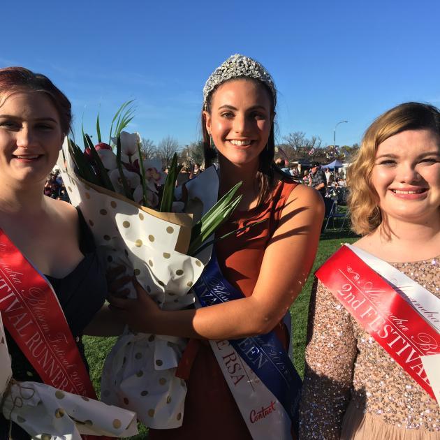 2018 Alexandra Blossom Festival queen Breigh Monaghan (centre) celebrates withfirst runner-up...