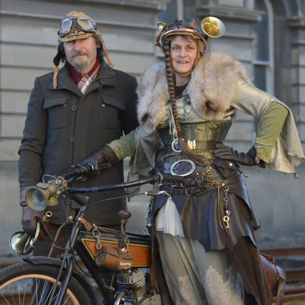 Steampunk enthusiasts Pete Dixon and Purple Taylor, of Oamaru. Photo: Gerard O'Brien