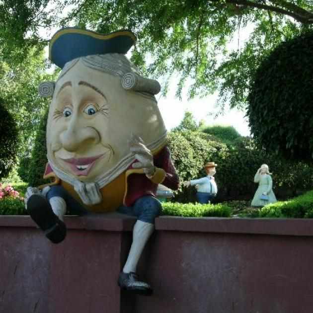 Humpty Dumpty with Gorgie Porgy in an adjacent storybook area at the Hunter Valley Gardens. Photo...