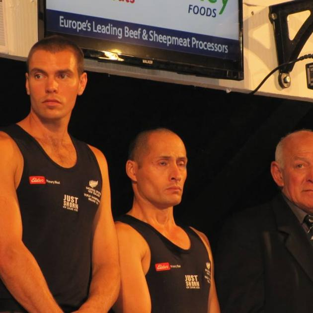 The New Zealand machine shearing team (from left) Rowland Smith, of Hastings, John Kirkpatrick, of Napier, and manager John Hough, of Rakaia, are introduced to the crowd before the machine shearing finals at the Golden Shears World Shearing And Woolhandli