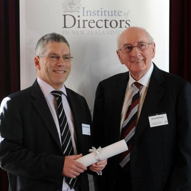 Institute of Directors Otago-Southland branch president Stuart McLauchlan (left) with...